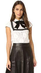 Alice Olivia Vanetta Pintuck Yoke Shirt With Bow White Black