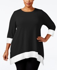 Calvin Klein Plus Size Colorblocked Handkerchief Hem Tunic Black White