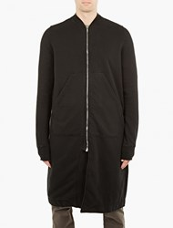 Rick Owens Black Jersey Long Bomber Jacket