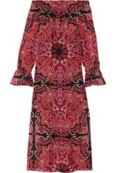Rachel Zoe Ariana Off The Shoulder Printed Silk Chiffon Midi Dress Red