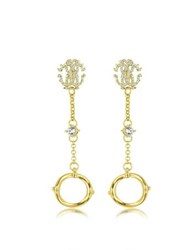 Roberto Cavalli Rc Lux Gold Tone Earrings W Crystals