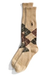 Men's Polo Ralph Lauren Argyle Socks Beige Taupe