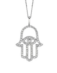 Lord And Taylor Diamond And 14K White Gold Hamsa Charm Necklace 0.5 Tcw