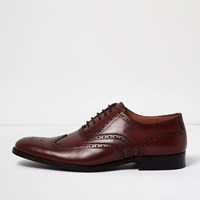 River Island Mens Dark Red Leather Brogues