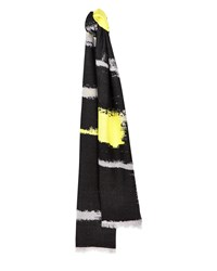 Jaeger Block Stripe Jacquard Scarf Yellow