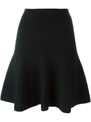 Alexander Mcqueen Flared Knit Skirt Black