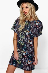 Boohoo Oriental Floral Cap Sleeve Shift Dress Navy