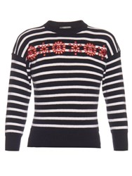 Alexander Mcqueen Cut Out Embroidered Floral Striped Sweater Navy White