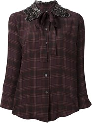 Marc Jacobs Embellished Collar Check Shirt Pink Purple