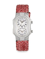 Philip Stein Teslar Two Dial Leather Strap Watch Silver Pink
