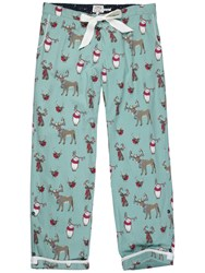 Fat Face Animals With Antlers Print Classic Pyjama Bottoms Aqua