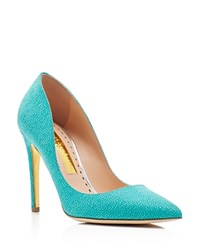 Rupert Sanderson Pinka Pointed Toe High Heel Pumps Blue
