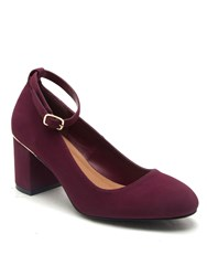 Qupid Melba Block Heel Court Shoe Burgundy