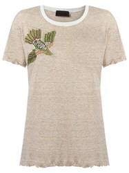 Andrea Bogosian Embroidered T Shirt Brown
