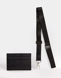 Asos Gift Set With Card Holder And Lanyard In Crocodile Effect Black