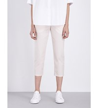 Jil Sander Tommy Cropped Mid Rise Cotton Trousers Light Pastel Pink