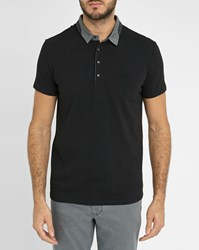 Ikks Black Polo Shirt With Grey Jersey Collar