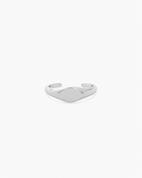 Maison Martin Margiela Line 11 Two Finger Signet Ring Rhodium