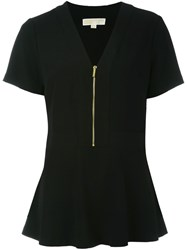 Michael Michael Kors Peplum Zipped Blouse Black