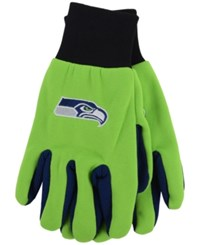 Forever Collectibles Seattle Seahawks Palm Gloves Navy Green