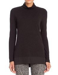Nic Zoe Mixed Media Turtleneck Top Black