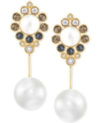 Swarovski Gold Tone Imitation Pearl And Crystal Drop Earrings