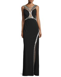 Mignon Embellished Sheer Inset Gown Black Silver