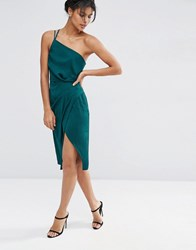 Asos One Shoulder Cami Drape Hammered Satin Midi Pencil Dress Emerald Green