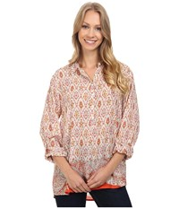 Dylan By True Grit Belle Brocade Bohemian Tunic Poppy Women's Long Sleeve Button Up Red