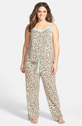 Lace Trim Print Jersey Pajamas Plus Size Nordstrom Online Exclusive Tan