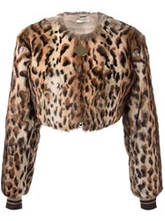 Givenchy Leopard Print Cropped Bomber Jacket Nude Neutrals