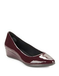 Easy Spirit Savery Patent Leather Wedge Pumps Wine