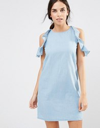 Daisy Street Cold Shoulder Denim Dress With Frill Details Light Denim Blue