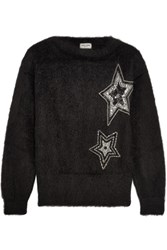 Saint Laurent Embellished Mohair Blend Sweater Black