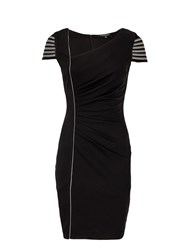 Morgan Fitted Striped Sleeve Dress Black