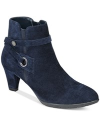 Anne Klein Chelsey Zippered Booties Navy Suede