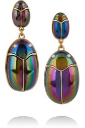 Lulu Frost Scarab Pair Lacquered Gold Plated And Faux Pearl Earrings Purple