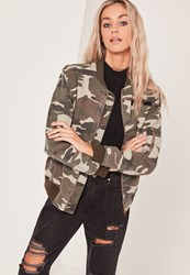 Missguided Camo Utility Bomber Jacket Khaki Green