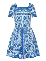 Dolce And Gabbana Majolica Print Cotton Poplin Dress