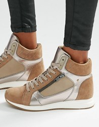 Aldo Metaliic Detail High Top Trainers Taupe Beige