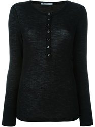 T By Alexander Wang Ribbed Henley T Shirt Black