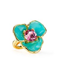 Kenneth Jay Lane Flower Cocktail Ring Gold Multi