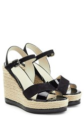 Hogan Patent Leather And Suede Platform Wedge Sandals Black