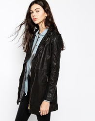 Doma Leather Coat With Diagonal Access Black