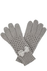 Oasis Beaded Bow Gloves Grey