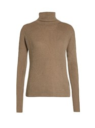 Raey Roll Neck Ribbed Fine Knit Cashmere Sweater Grey