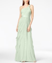 Adrianna Papell One Shoulder Tiered Chiffon Gown Mint