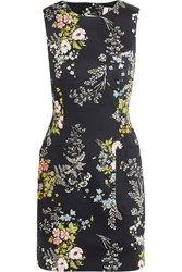 Topshop Unique Harleyford Floral Print Stretch Cotton Mini Dress Navy