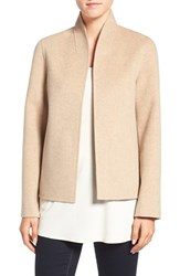 Eileen Fisher Women's Brushed Wool Blend Double Face High Collar Coat Oatmeal