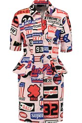 Love Moschino Printed Stretch Denim Peplum Dress Pink